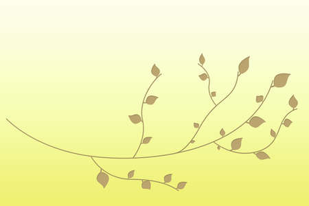 Branch with leaves background on yellow gradient photo