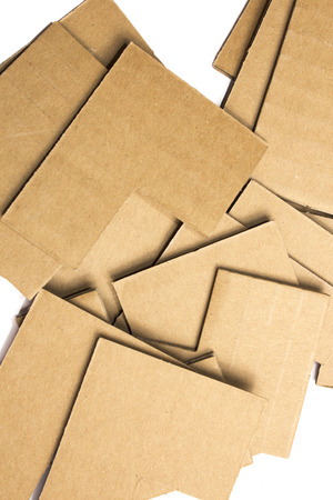 many pieces of cardboard on white background texture photo