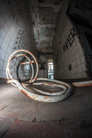 Abandoned room chair on the floor old building photo