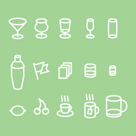 stroked: Coffee bar icons vector set. 3-d, stroked. Illustration