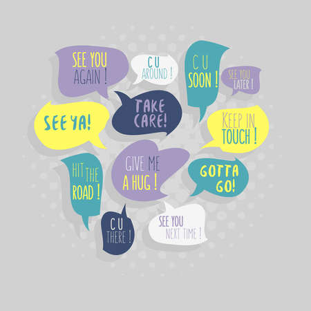 phrases: Most Common Used Typical Good-Bye Phrases On Speech Flat Style Vector Bubbles.