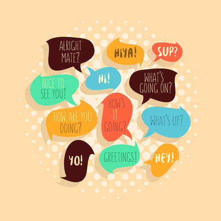 phrases: Most Common Used Typical Hello Phrases On Speech Flat Style Bubbles. Greetings and Salutation. Illustration