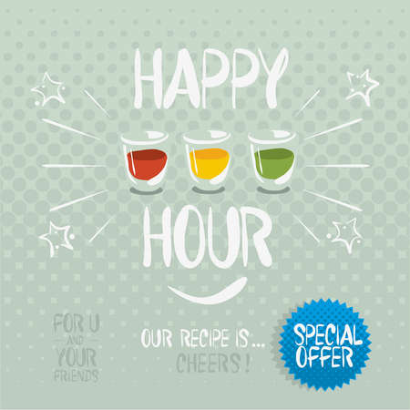 cold meal: Happy hour. Hand drawn vector cartoony illustration.
