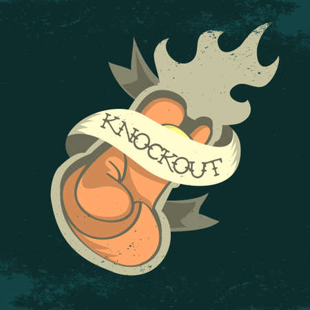 boxing tape: Boxing Glove On A Fire Print Design. Knockout. Tee Print Concept.  Distressed Effect.