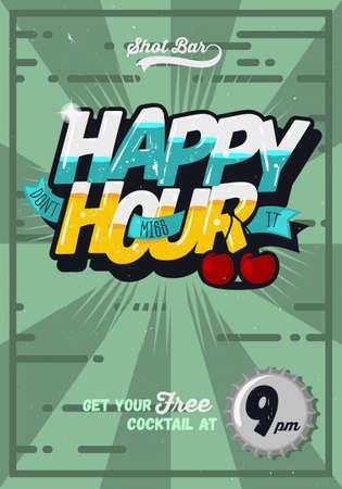 Cartel de plantilla Concepto Hora feliz para la publicidad. Inscripción cómic.