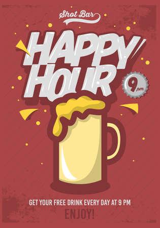 Happy Hour cartel para la publicidad. Taza de cerveza de la ilustración. Inscripción cómic. Antecedentes grunge. Imagen vectorial.