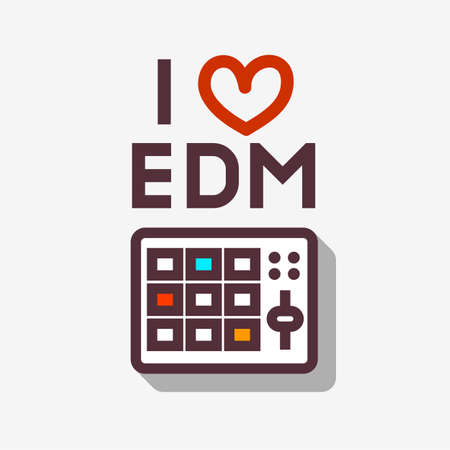 i pad: I Love EDM Electronic Dance Music . Minimalistic Line Art Vector Design On A White Background For Different Goals. Pad Controller Illustration.