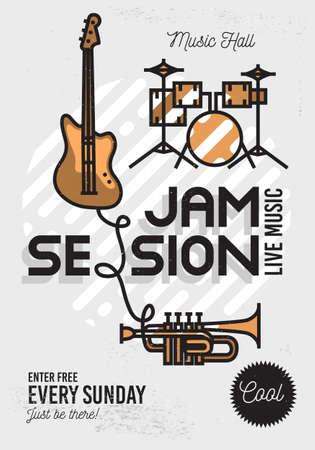Jam Session Minimalistic Linie Kunst-Ereignis Musik-Plakat Kühle. Vector Design. Gitarre, Schlagzeug und Trompete Icons.