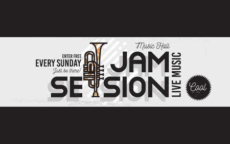 Jam Session Minimalistic Cool Line Art Event Music Website Cover Image. Vector Design. Trumpet Icon.