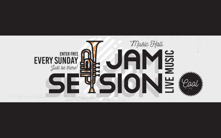 Jam Session Minimalistic Cool Line Art Event Music Website Cover Image. Vector Design. Trumpet Icon.