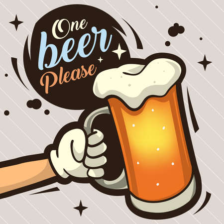 One Beer Please Hand Drawn Artistic Cartoon Illustration  For Advertising. The Hand With A Mug Of Draft Beer. Vector Image.
