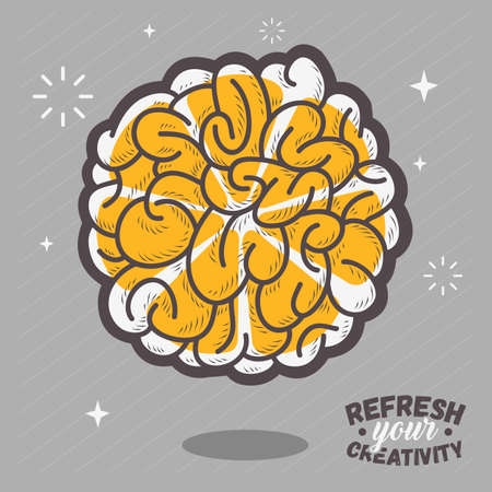 Refresh Your Creativity. Human Brain View Combined With A Sliced Citrus Fruit. Comic Style Thin Line Art Vector Illustration.