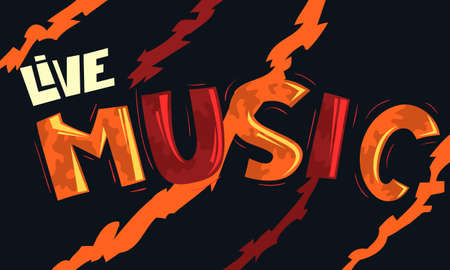 Live Music Artistic Cool Comic Lettering. Cartoon Inscription. Funny Typography. Vector Graphic