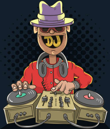 sound mixer: Night Club Dj Playing Music On A Sound Mixer And Gramophones And Smiling. Funny Cartoon Disc Jockey Illustration. Vector Graphic.