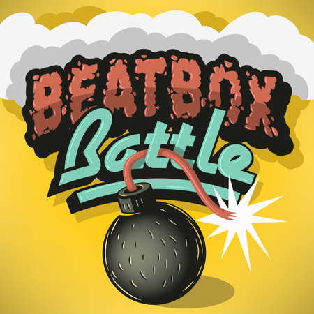 Beatbox Battle Type Treatment Design. Inscription For Headline, Tittle. Typography. Lettering.Bomb Object Clip Art. Cool Funny Cartoon Comic Style. Old School Graffiti Aesthetic. Vector Graphic. Illustration