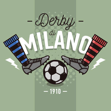 show off: Milanese Derby Label Design. Soccer Boots And Ball Flat Thin Lin