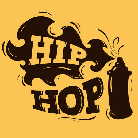 Hip Hop Label Design With A Spray Balloon Silhouette. Vector Gra