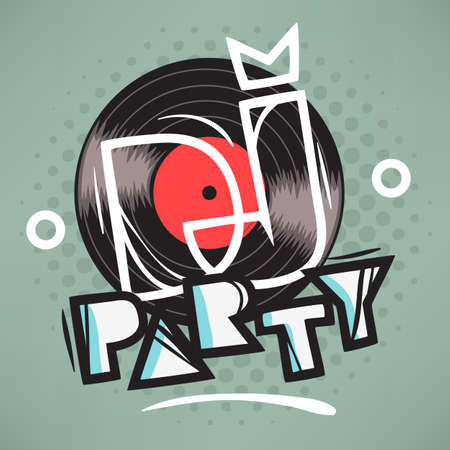 DJ Party Poster Design With Vinyl Record Illustration And Geomet