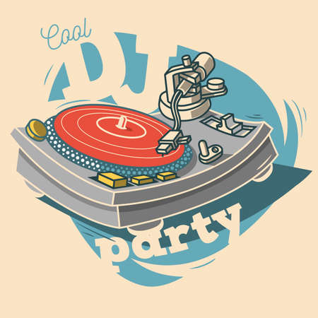 DJ Cool Party Funny Poster Design With Vinyl Record And A Gramop Illustration
