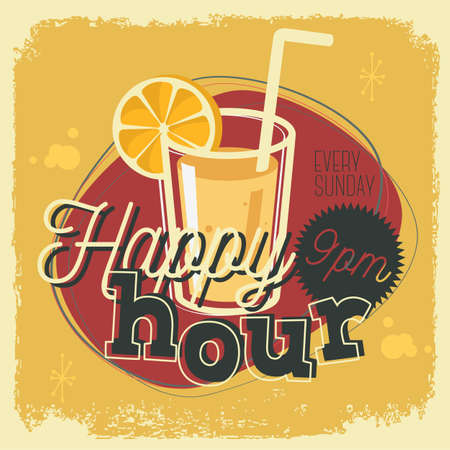 Happy Hour New Age 50s Vintage Poster Sign Design With A Glass O
