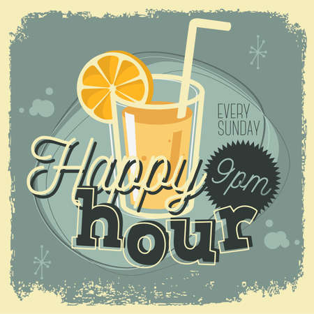 Happy Hour New Age 50s Vintage Poster Sign Design With A Glass O Imagens