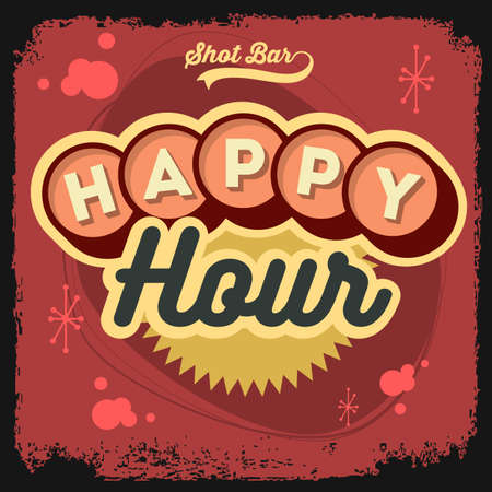 Happy Hour New Age 50s Vintage Label Poster Sign Design With Ret