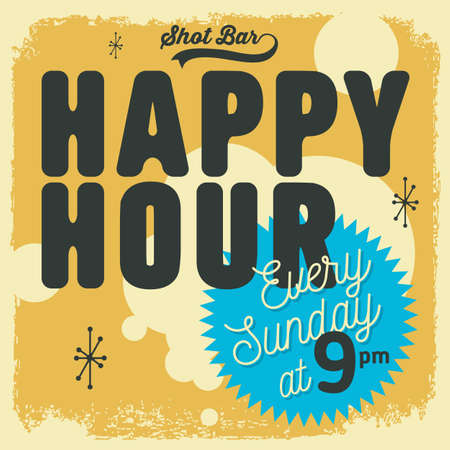 Happy Hour New Age 50s Vintage Label Poster Sign Design For Prom