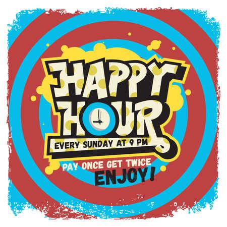 Happy Hour Label Sign Design Funny Cool Comic Lettering Graffiti