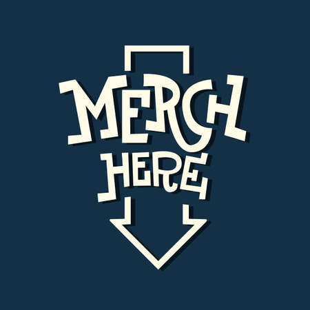 Merch Here Funny Artistic Sign Slab Serif Lettering With An Arro