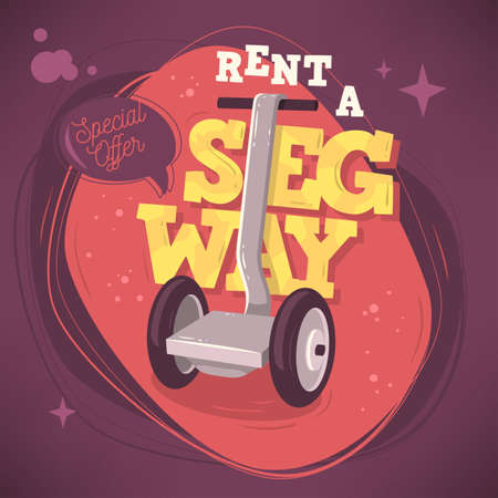 eco notice: Rent A Segway Promotional Poster Flyer Card Design. Vector Graph