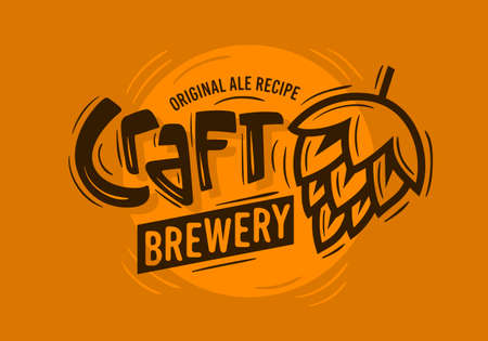 ビールのホップのイラストとクラフト ビール醸造所ロゴ。ベクター グラフィック。  イラスト・ベクター素材