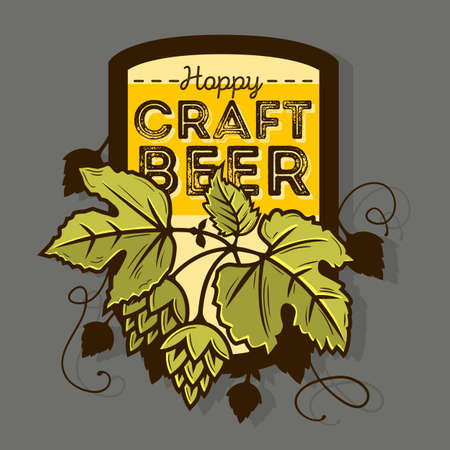 Hoppy Craft Beer Label With Leaves And Hops Vector Illustration.
