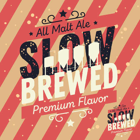 Slow Brewed Craft Beer Typographic Label Design With Brewery Equipment Silhouettes. Vector Graphic. Illustration