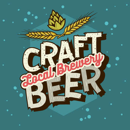 Craft Beer Typographic Label Design With Wheats And Hops Illustration. Vector Graphic.