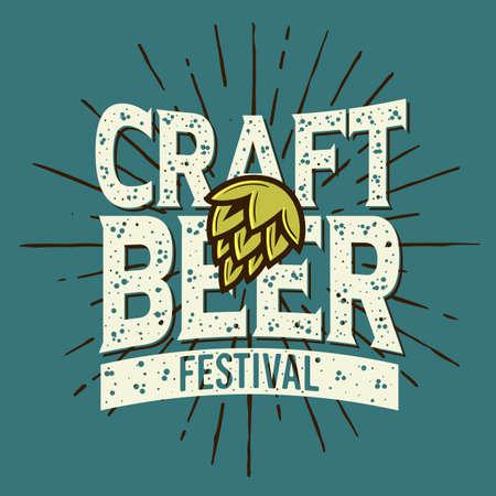 Craft Beer Festival Typographic Label Design With A Hop And A Sunburst  Illustration.