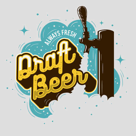 Draft beer tap with foam poster design for promotion.