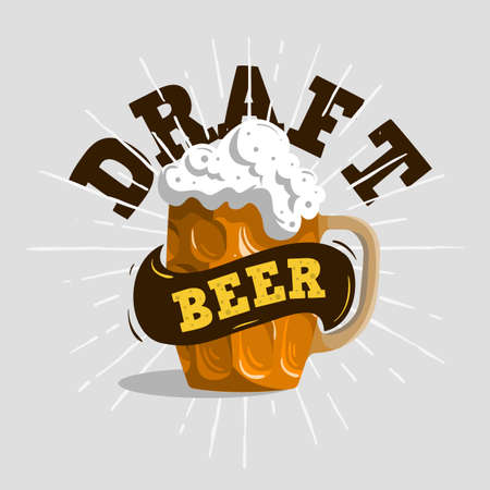 Draft Beer Typographic Label Design  With A Mug Or A Krug Of Beer With Foam Illustration. Vector Graphic. Illustration