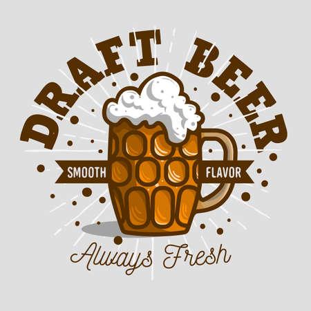 Draft Beer Logo Label Design  With A Mug Or A Krug Of Beer With Foam Illustration. Vector Graphic. Illustration