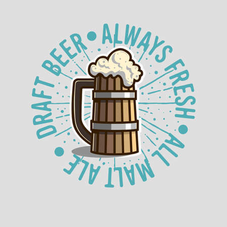 Draft Beer Logo Label Design  With Wooden Mug Or A Tankard Of Be Illustration