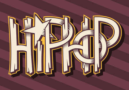 Hip Hop  Artistic Custom Graffiti Style Label Lettering Design. Illustration