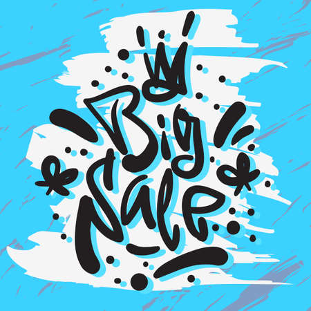 Big Sale hand drawn artistic custom brush calligraphy, vector illustration.