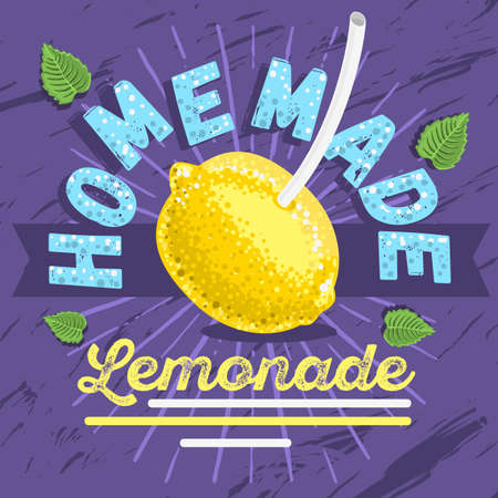 Homemade Lemonade Typographic Label  Design