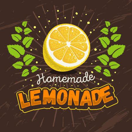 Homemade Lemonade Design With Sliced Lemon And Mint Wreath Illus