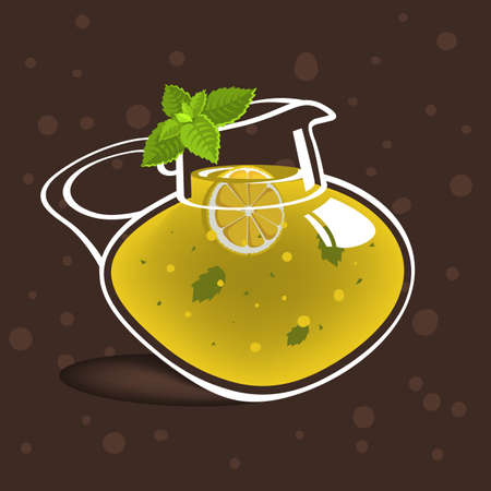 Glass Jug Pitcher Pot Filled Up With Homemade Lemonade With A Branch Of Mint. Vector Graphic.