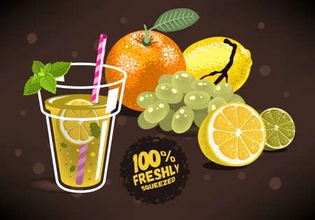 Fresh Fruits For Squeezed Juice With An Orange, Lemon, Lime, Grapes. Glass Filled Up With Homemade Lemonade With A Branch Of Mint, Sliced Lemon And A Straw Illustrations. Vector Graphic.