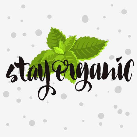 Stay Organic Rough Traced  Custom Artistic Handwritten Brush Cal Illustration