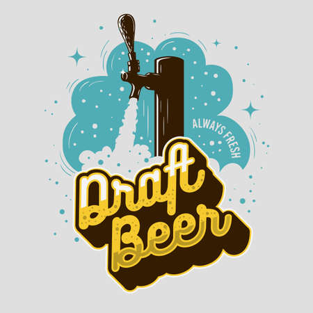 Draft Beer Tap With Foam Poster Design For Promotion. Vector Graphic.