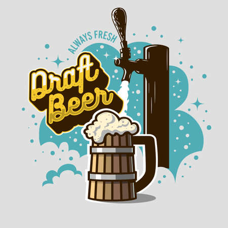 Draft Beer Tap With Wooden Mug Or A Tankard Of Beer With Foam Illustration. Poster Design For Promotion. Vector Graphic.