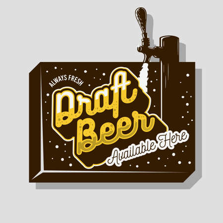 Draft Beer Tap Sign Design For Promotion. Vector Graphic.