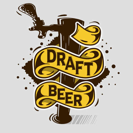 Draft Beer Tap Artistic Cartoon Tatoo Style  Print Poster Design  With Banner For Your  Message. Vector Image.